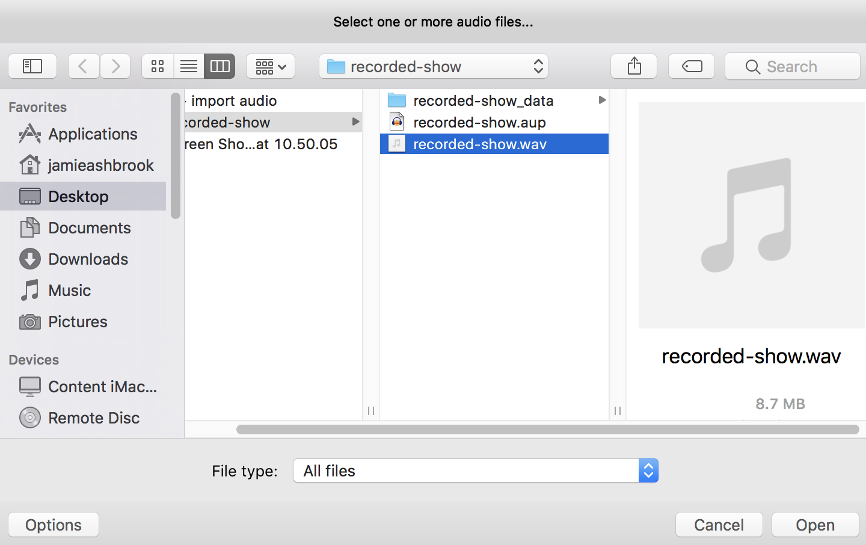 Import Audio File into Audacity