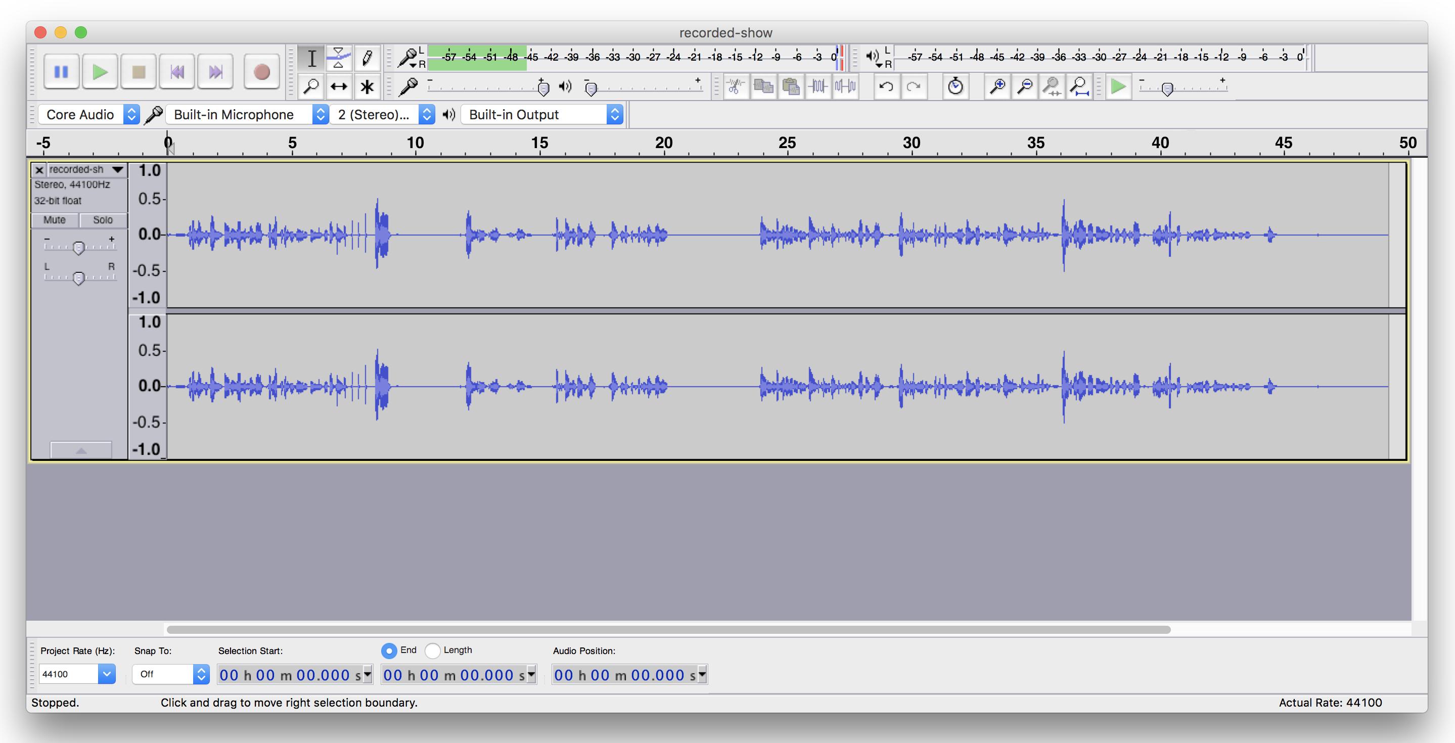 Imported Audio into Audacity radio editing
