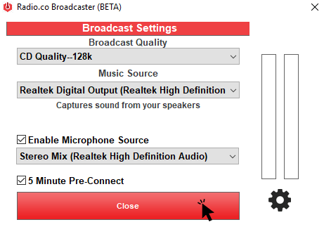 Settings - Radio.co Broadcaster Windows