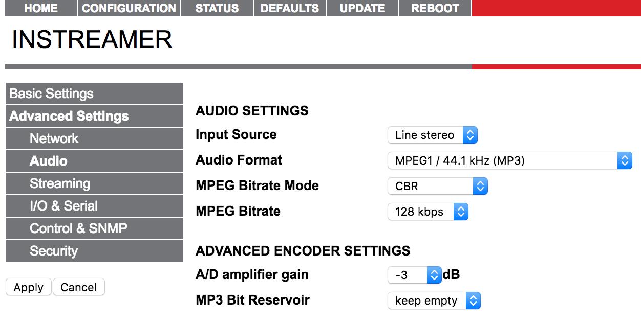 Barix Advanced Settings Audio