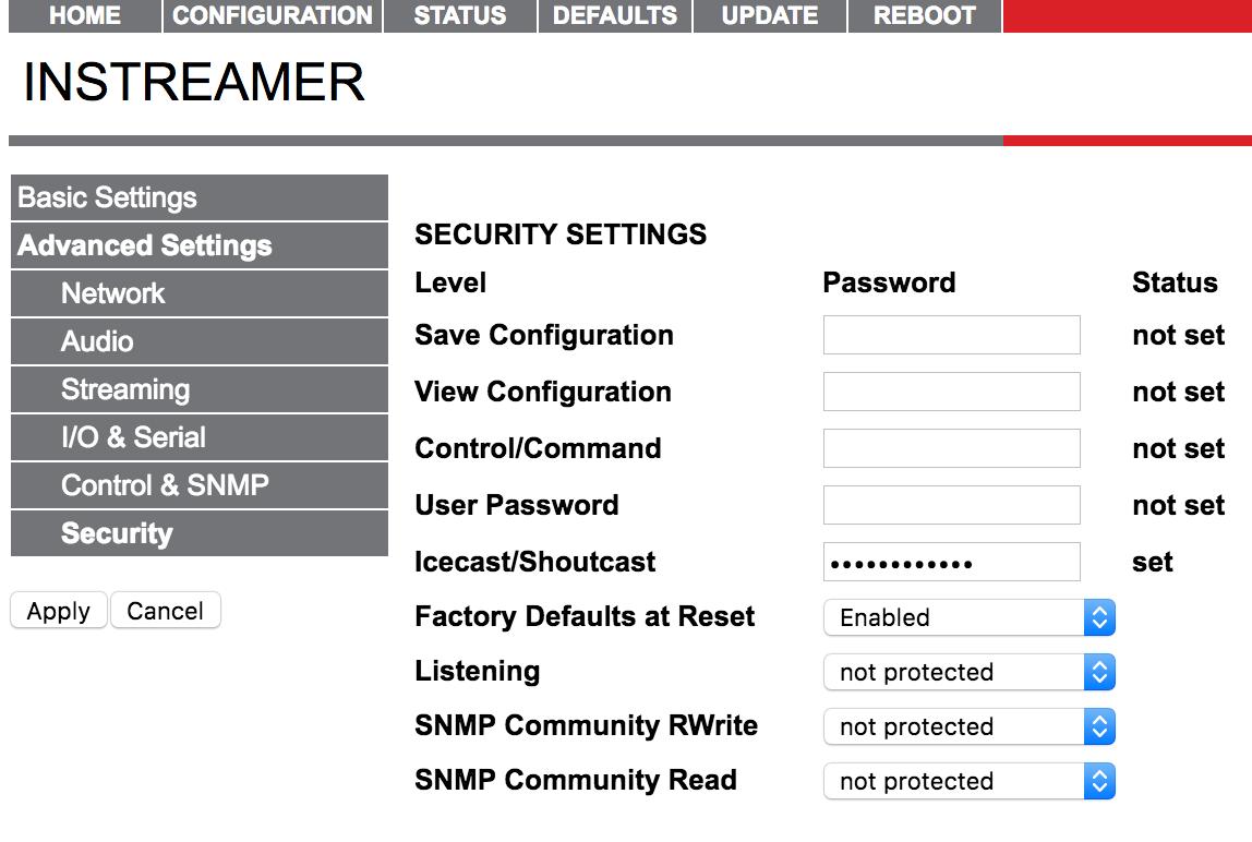 Barix Instreamer Security Password