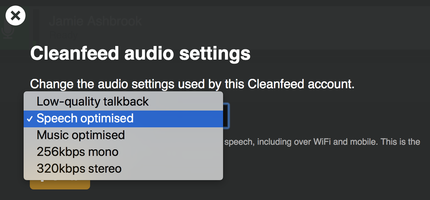 Changing kbps Cleanfeed - Record Live Radio with Listeners
