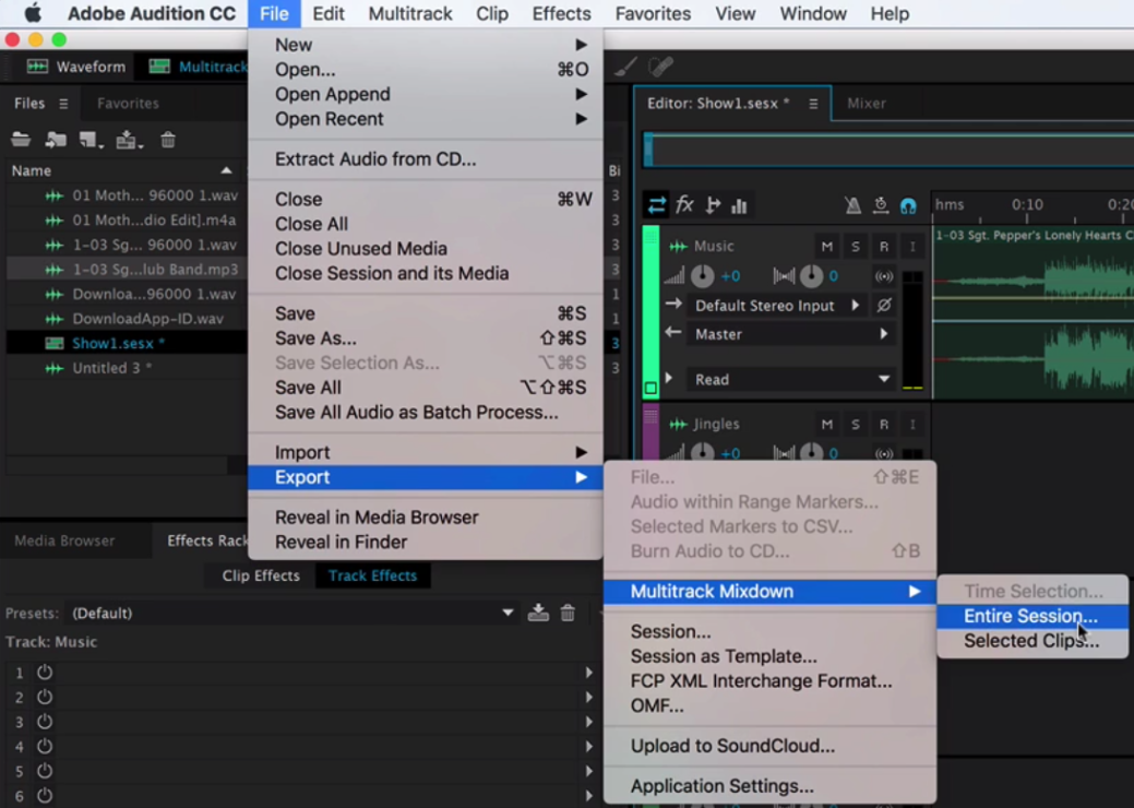 Exporting Show