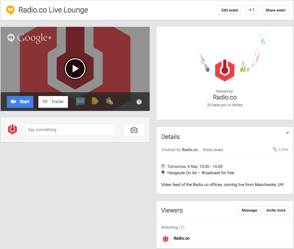 Hangouts On Air Events Page