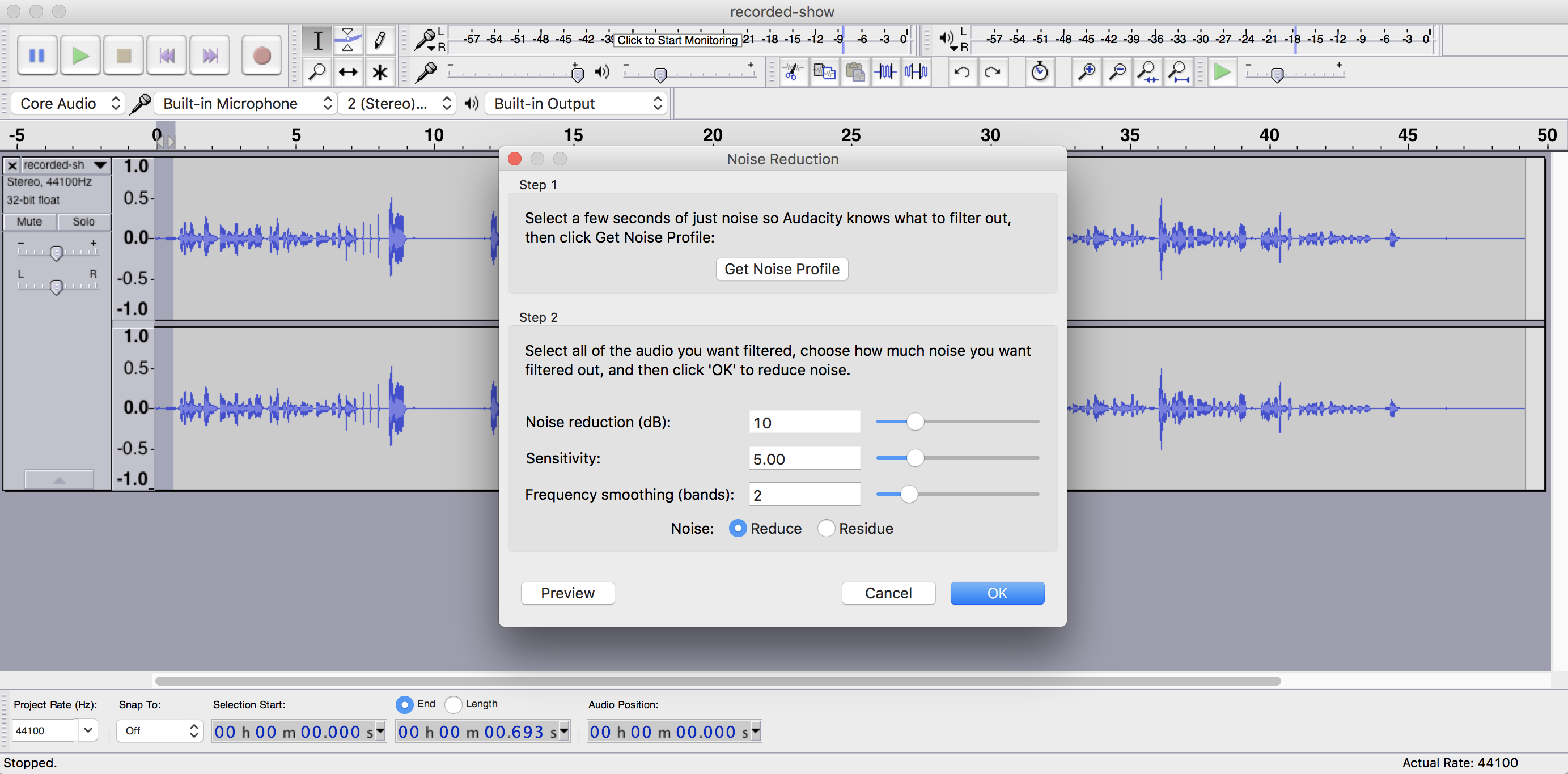 Highlighting Background Noise in Audacity