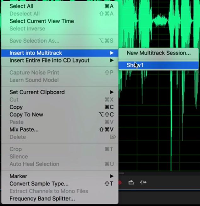 Insert Audio Into Multitrack