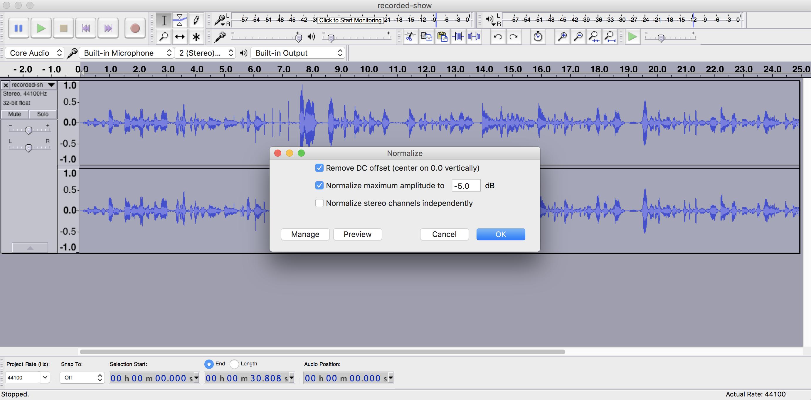 Normalizing Audio Audacity