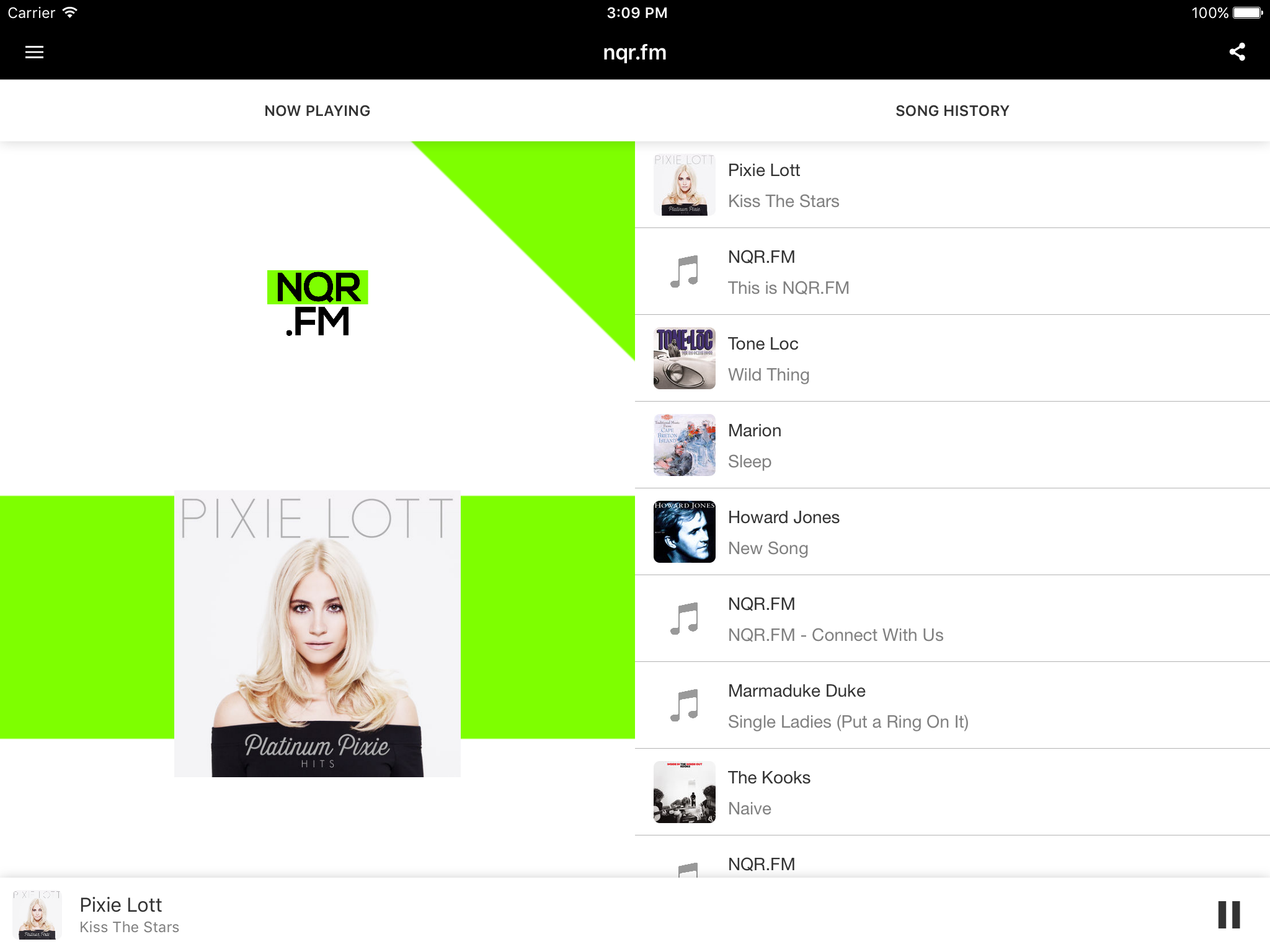 NQR.FM iOS Now Playing Tablet