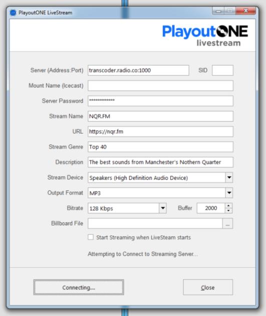 PlayoutoONE Live Stream