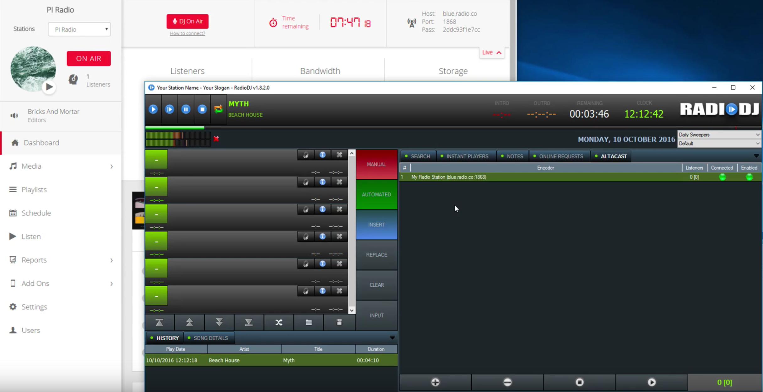 RadioDJ Broadcasting Online Radio