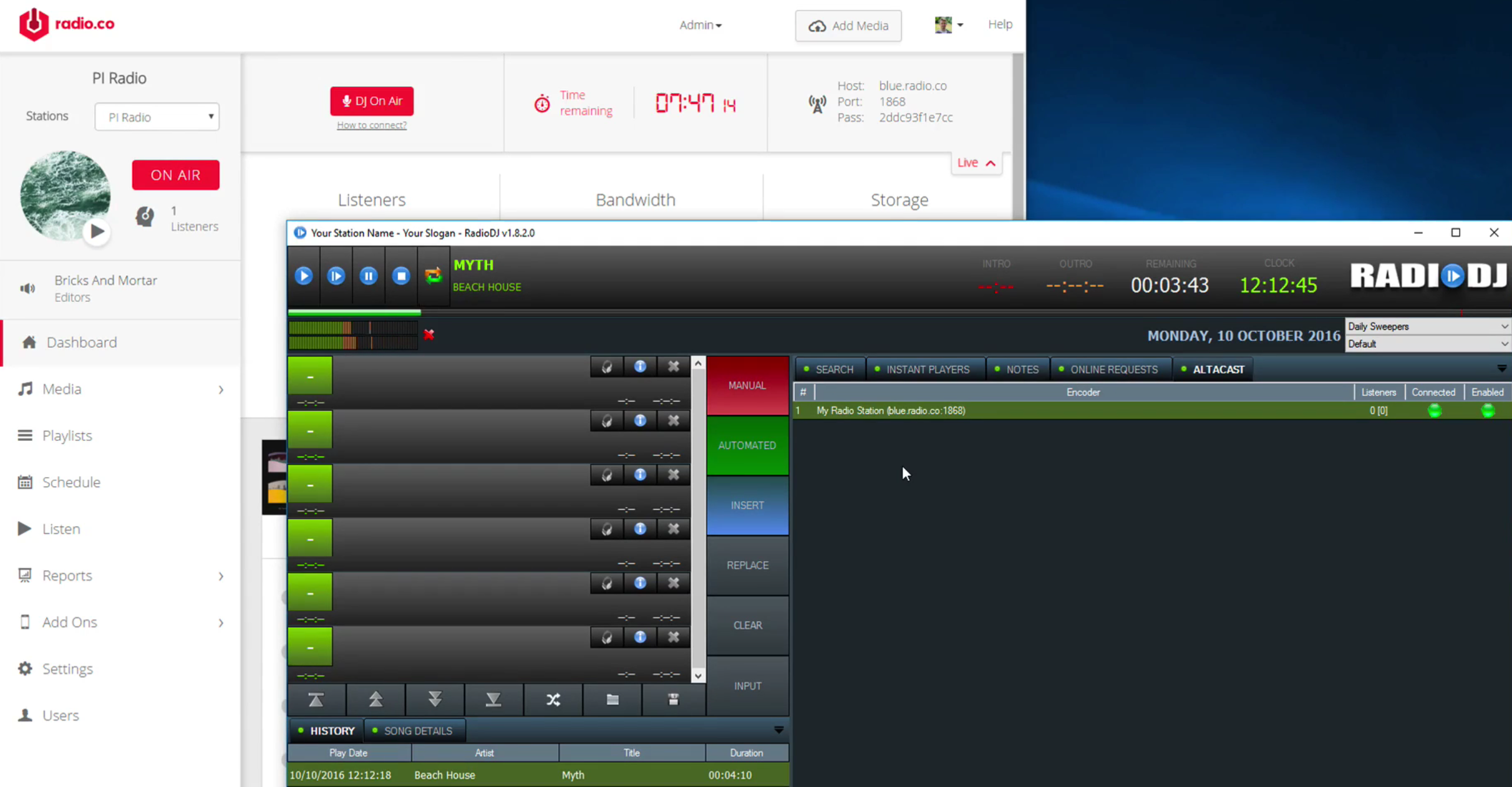 RadioDJ software Connect to Online Radio