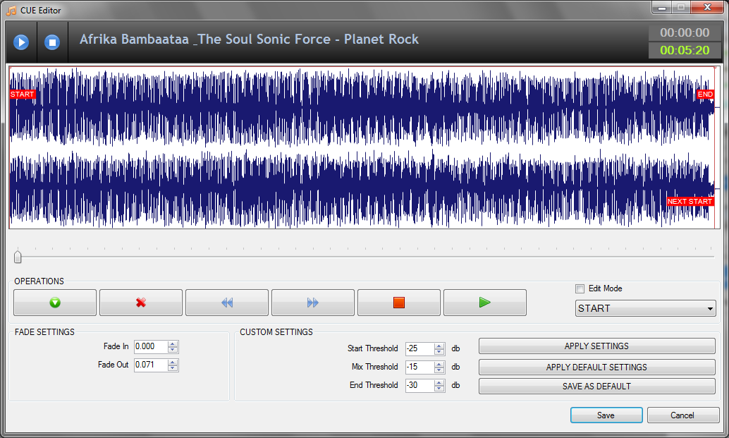 RadioDJ software Cue Points Editor
