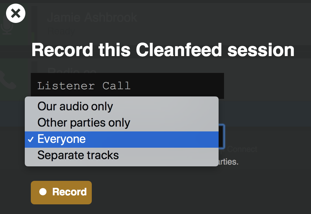 Recording Settings Cleanfeed