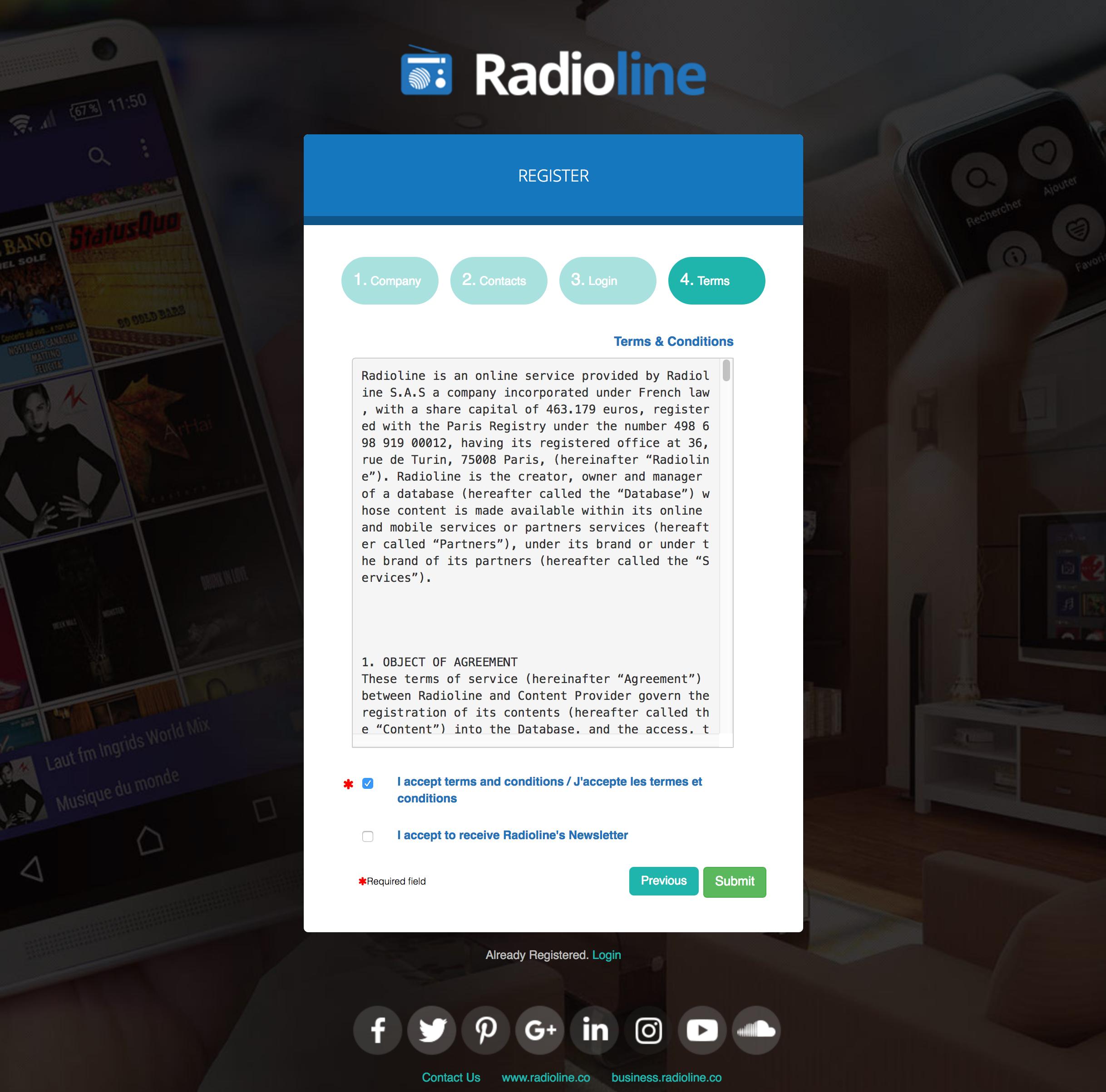 Registering Account Radioine