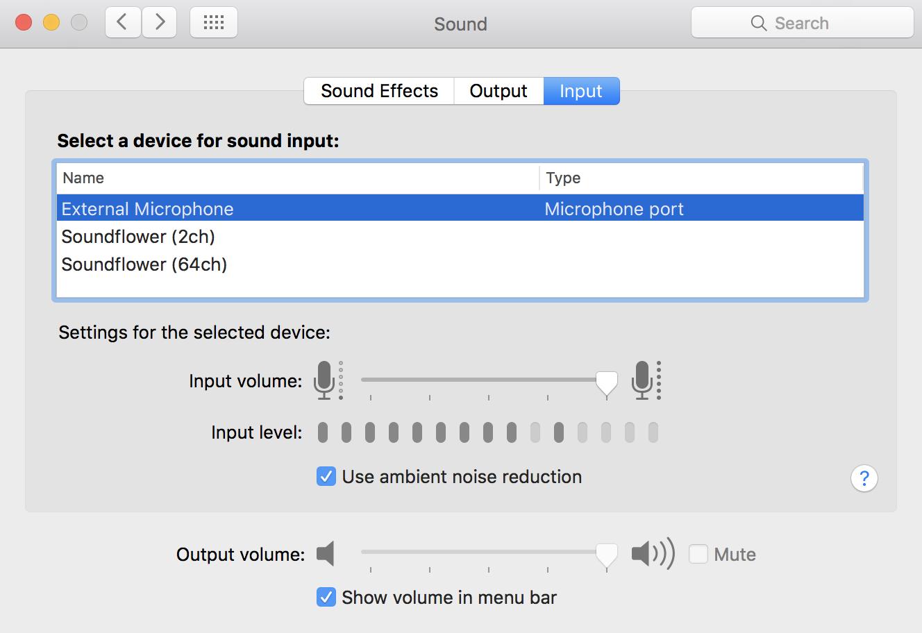 Sound Input Microphone Control
