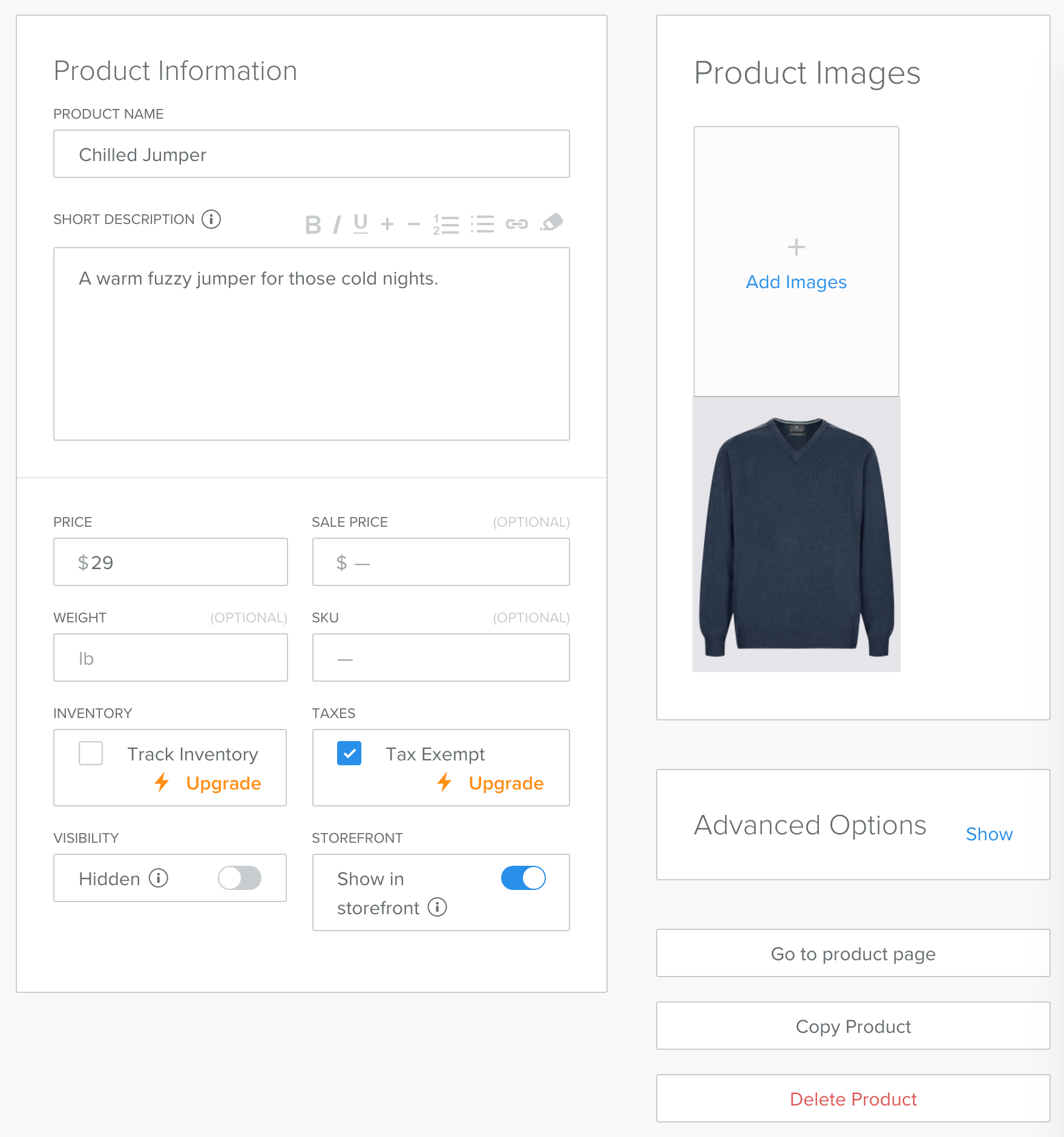 Updating Product Info Chilled.io