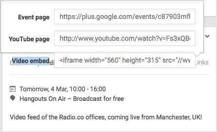 Video Embed Code - Google Hangouts On Air