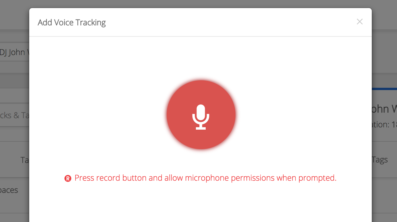 Voice Track Pop-up Window