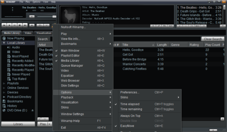 Winamp Preferences - talk over music for radio