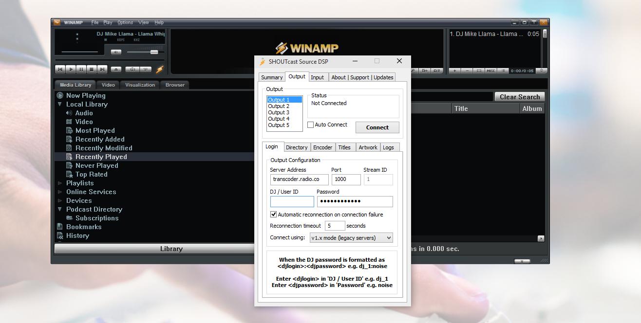 Winamp SHOUTcast DSP Broadcaster Details