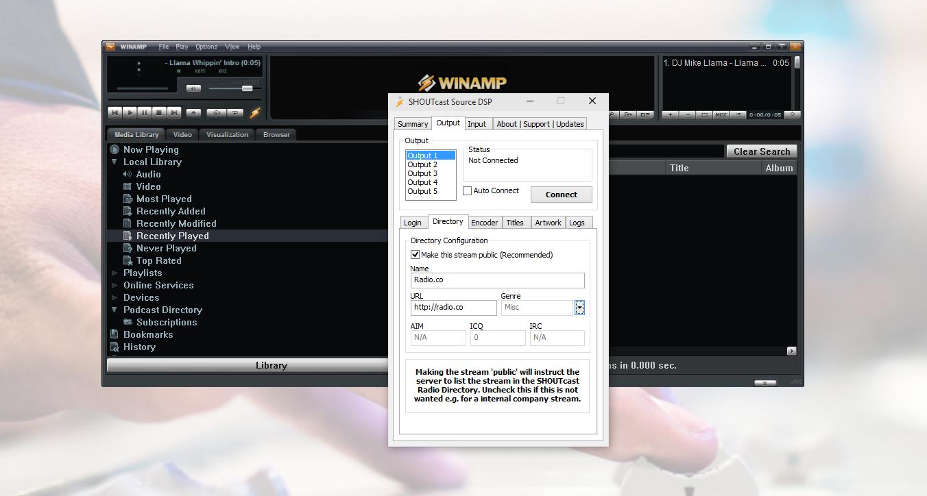 Winamp SHOUTcast DSP Directory - Winamp setup