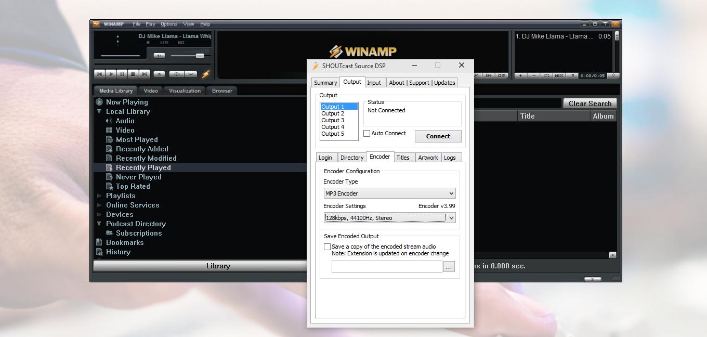 Winamp SHOUTcast DSP Encoder
