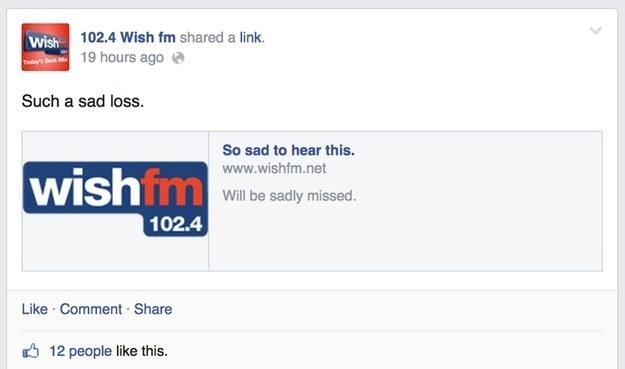 Wish FM Such a Sad Loss